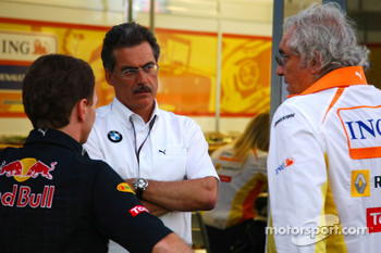 Christian Horner, Red Bull Racing, Sporting Director, Dr. Mario Theissen, BMW Sauber F1 Team, BMW Motorsport Director and Flavio Briatore, Renault F1 Team, Team Chief, Managing Director
