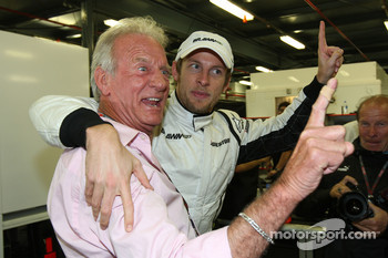 John Button father of Jenson Button, Brawn GP and Jenson Button, Brawn GP celebrate the win
