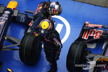 Race winner Sebastian Vettel, Red Bull Racing, celebrates with Mark Webber, Red Bull Racing