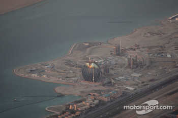 A view of the Abu Dhabi's new F1 racetrack area from the airplane on the way to Bahrain