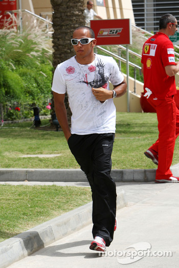 Lewis Hamilton, McLaren Mercedes, arrives at the circuit