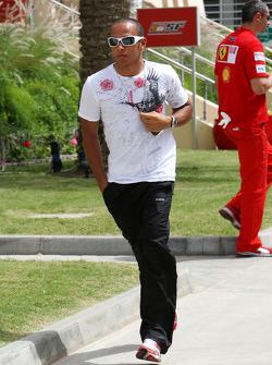 Lewis Hamilton, McLaren Mercedes, arrives at the circuit