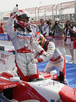 Pole winner Jarno Trulli, Toyota Racing and Timo Glock, Toyota F1 Team