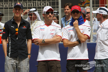 Sebastian Vettel, Red Bull Racing, Timo Glock, Toyota F1 Team, Jarno Trulli, Toyota Racing and Nick Heidfeld, BMW Sauber F1 Team