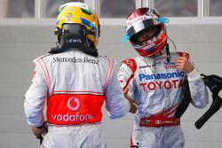 Lewis Hamilton, McLaren Mercedes and Jarno Trulli, Toyota F1 Team