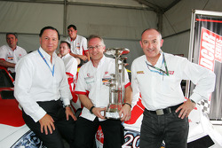 UP Team celebrate with Luciano Secchi WIND Group and Claudio Berro Speedcar Series Operations Director