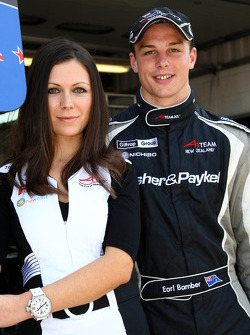 Grid girl and Earl Bamber, driver of A1 Team New Zealand
