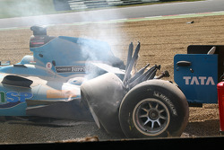 The car of Narain Karthikeyan, driver of A1 Team India after a crash