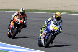 Valentino Rossi, Fiat Yamaha Team leads Dani Pedrosa, Repsol Honda Team