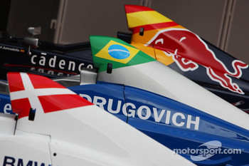 Cars of Michael Christensen, Muecke Motorsport, Luiz Felipe Nasr, Eurointernational and Daniel Juncadella, Eurointernational