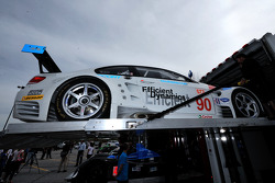 #90 BMW Rahal Letterman BMW E92 M3 is loaded on a transporter