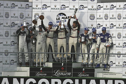LMP2 podium: class winners Casper Elgaard, Kristian Poulsen, Emmanuel Collard; second place Jonny Kane, Benjamin Leuenberger, Xavier Pompidou; third place Filippo Francioni, Andrea Ceccato, Giacomo Piccini (later excluded for technical non-compliance)