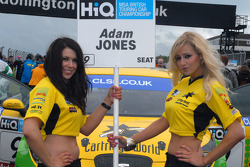 Sophie Fisher and Samantha Louise Andre, grid girls to Adam Jones