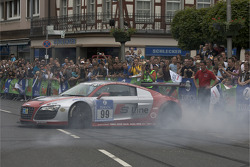 Frank Stippler does some donuts in the Audi R8 LMS
