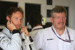 Jenson Button, Brawn GP and Ross Brawn Brawn Grand Prix Team Principal