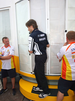 Adam Parr, Williams F1 Team leaves a meeting of team bosses held in the Renault f1 motorhome
