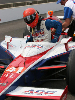 A.J. Foyt IV gets out of his car