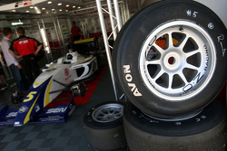 Avon tyres and OZ Racing wheels outside the garage of Alex Brundle