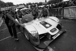 #2 Audi Sport Team Joest Audi R15 TDI pushed out of scrutineering area