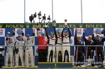 LMP2 podium: class winners Kristian Poulsen, Casper Elgaard and Emmanuel Collard, second place Xavier Pompidou, Benjamin Leuenberger and Jonny Kane, third place Jacques Nicolet, Richard Hein and Jean-François Yvon