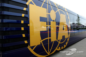 The FIA motorhome in the paddock