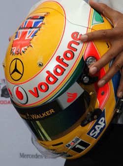 The new helmet of Lewis Hamilton, McLaren Mercedes for the British Grand Prix