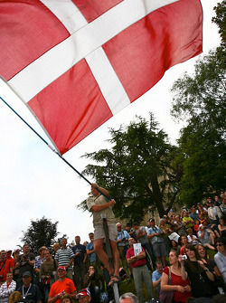 Crazy Danish fans wait for Tom Kristensen