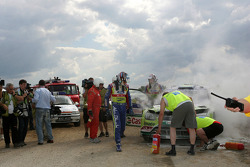 Jari-Matti Latvala and Miikka Anttila, Ford Focus RS WRC08, BP Ford Abu Dhabi World Rally Team crash in the final stage