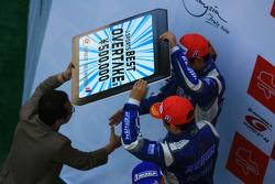 GT500 podium: second place Toshihiro Kaneishi and Koudai Tsukakoshi