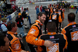 Joe Gibbs Racing Toyota crew members celebrate win
