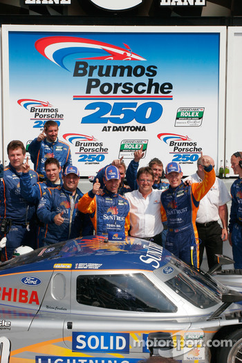 Victory lane: race winners Max Angelelli and Brian Frisselle celebrate with Wayne Taylor and SunTrust Racing team members
