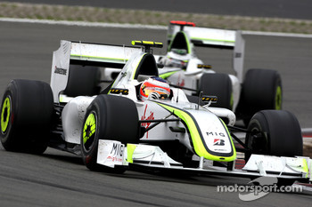 Rubens Barrichello, Brawn GPl leads Jenson Button, Brawn GP