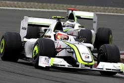 Rubens Barrichello, Brawn GPl leads Jenson Button, Brawn GP