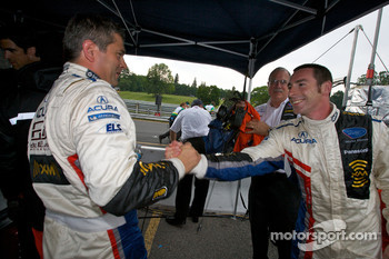 P1 and overall pole winner Simon Pagenaud celebrates with Gil de Ferran
