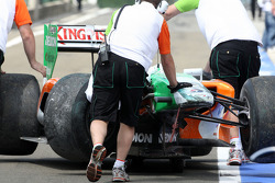 The car of Adrian Sutil, Force India F1 Team after a crash in practice