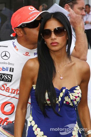 Nicole Scherzinger, Singer in the Pussycat Dolls and girlfriend of Lewis Hamilton, McLaren Mercedes and Lewis Hamilton, McLaren Mercedes