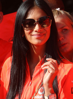 McLaren Mercedes victory celebration: Nicole Scherzinger, Singer in the Pussycat Dolls and girlfriend of Lewis Hamilton