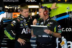 Carl Edwards, Roush Fenway Racing Ford talks with his crew chief, Bob Osborne