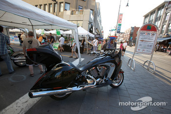 A Victory motor bike on display in downtown Trois-Rivières