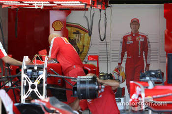 The Ferrari garage with a picture of Luca Badoer, Scuderia Ferrari, replacing injured Felipe Massa, Scuderia Ferrari