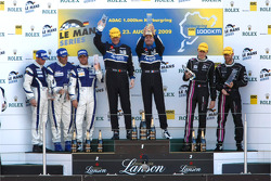 LMP2 podium: class winners Miguel Amaral and Olivier Pla, second place Filippo Francioni, Andrea Ceccato and Giacomo Piccini, third place Matthieu Lahaye and Karim Ajlani