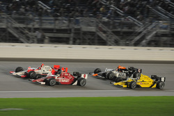 Helio Castroneves, Team Penske; Scott Dixon, Target Chip Ganassi Racing; Dario Franchitti, Target Chip Ganassi Racing; and Mario Moreas, KV Racing Technology
