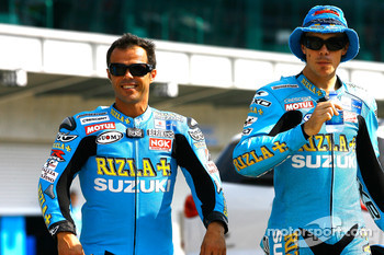 Loris Capirossi, Rizla Suzuki MotoGP and Chris Vermeulen, Rizla Suzuki MotoGP at the Indianapolis Motor Speedway 100th anniversary photo shoot
