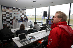 Jonathan Palmer Motorsport Vision Chief Executive watches the post qualifying press conference