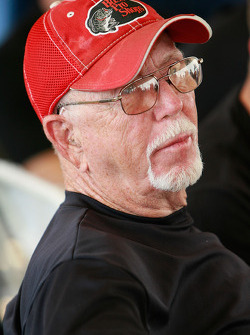 Dirt racing legend Red Farmer looks on during the drivers meeting
