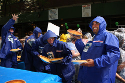 Chase for the NASCAR Sprint Cup competitors Kurt Busch, Jimmie Johnson, Denny Hamlin and Juan Pablo Montoya take part in Largest Custard Pie fight during Guinness World Record Breaker Week on 'LIVE! with Regis and Kelly