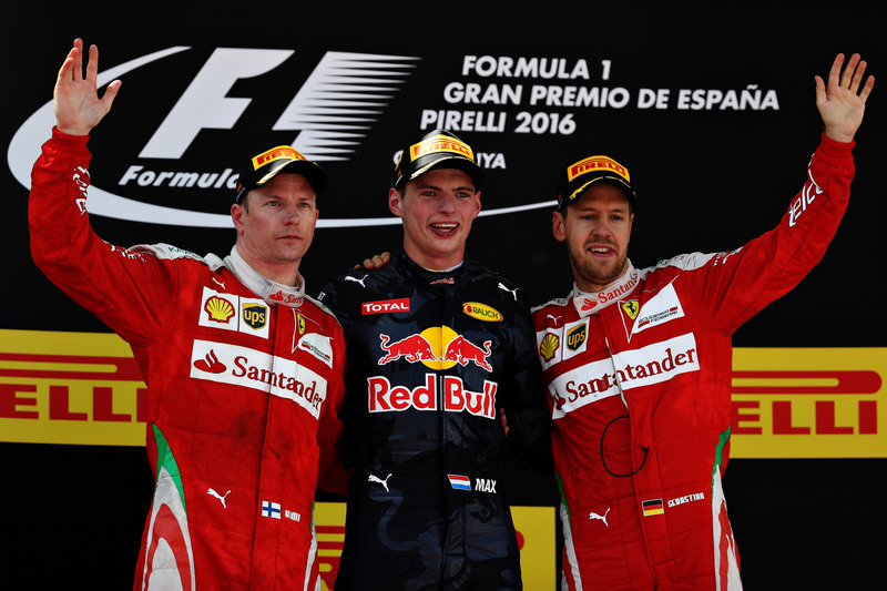 1. Max Verstappen, 2. Kimi Räikkönen, 3. Sebastian Vettel