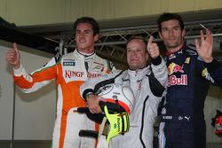 Pole winner Rubens Barrichello, Brawn GP, second place Mark Webber, Red Bull Racing, third place Adrian Sutil, Force India F1 Team