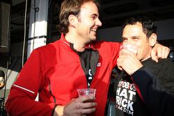 Hans-Jurgen Abt, Teamchef Abt-Audi celebrating with Thomas Biermaier