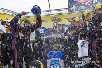Victory lane: race winner Denny Hamlin, Joe Gibbs Racing Toyota celebrates